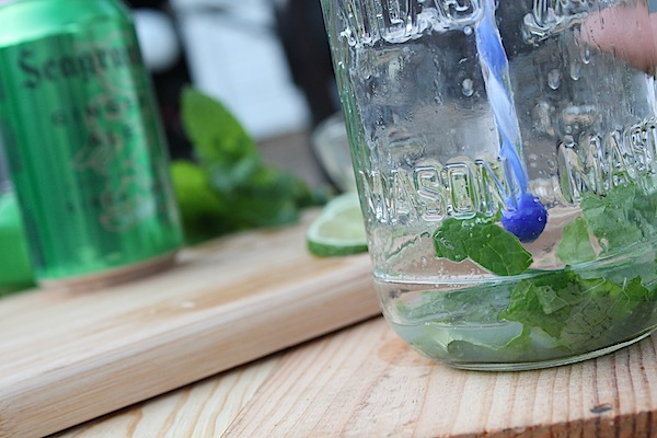 muddling mint for Mojitos