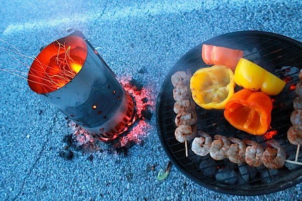 Seasoned shrimps on the grill on 4th of july
