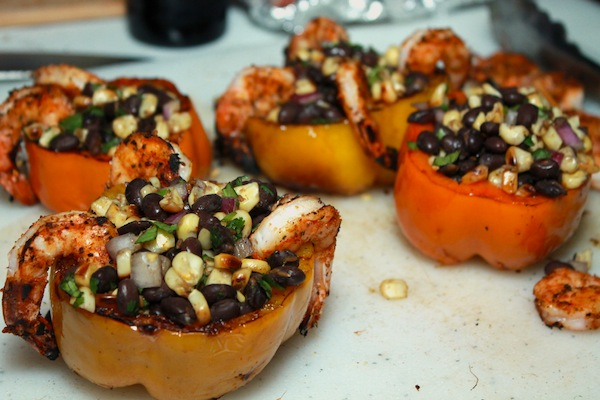 grilled shrimp stuffed bell peppers