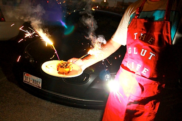 Sparklers in shrimp stuffed peppers - Fourth of July
